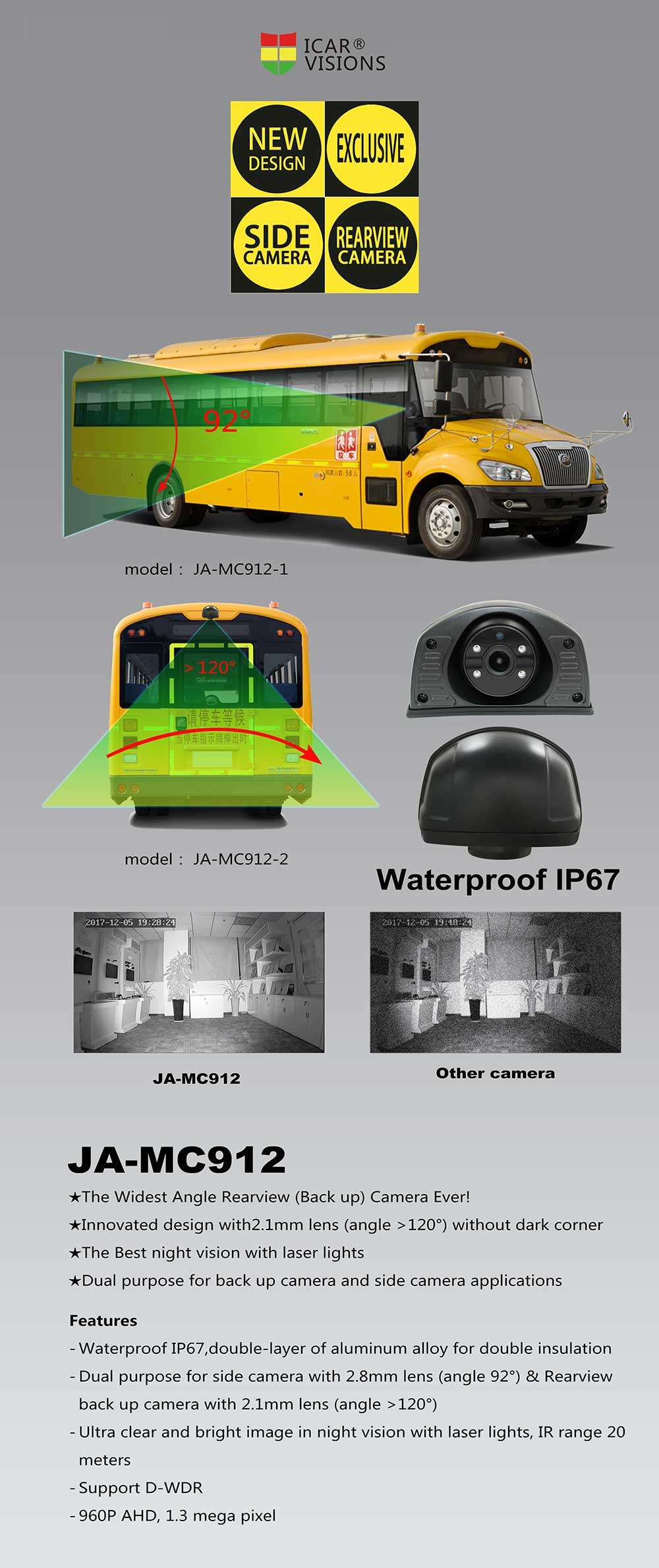 IP67 Waterproof 12V Vehicle AHD Camera for Mobile Dvr JA-MC912-B Picture2