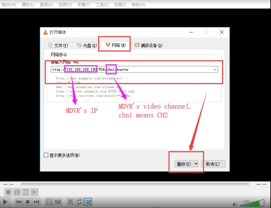 How to use VLC get RTSP video from MDVR Picture2