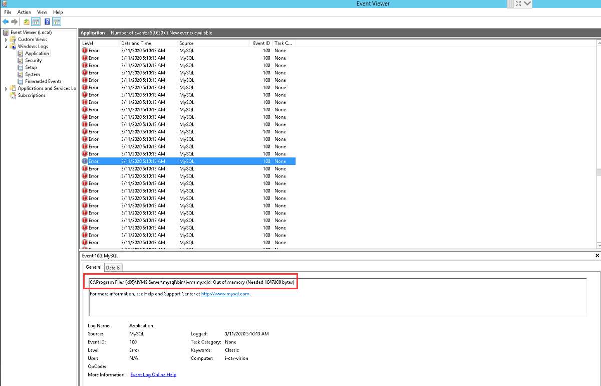 How to check the database stopped by memory run out off Picture2