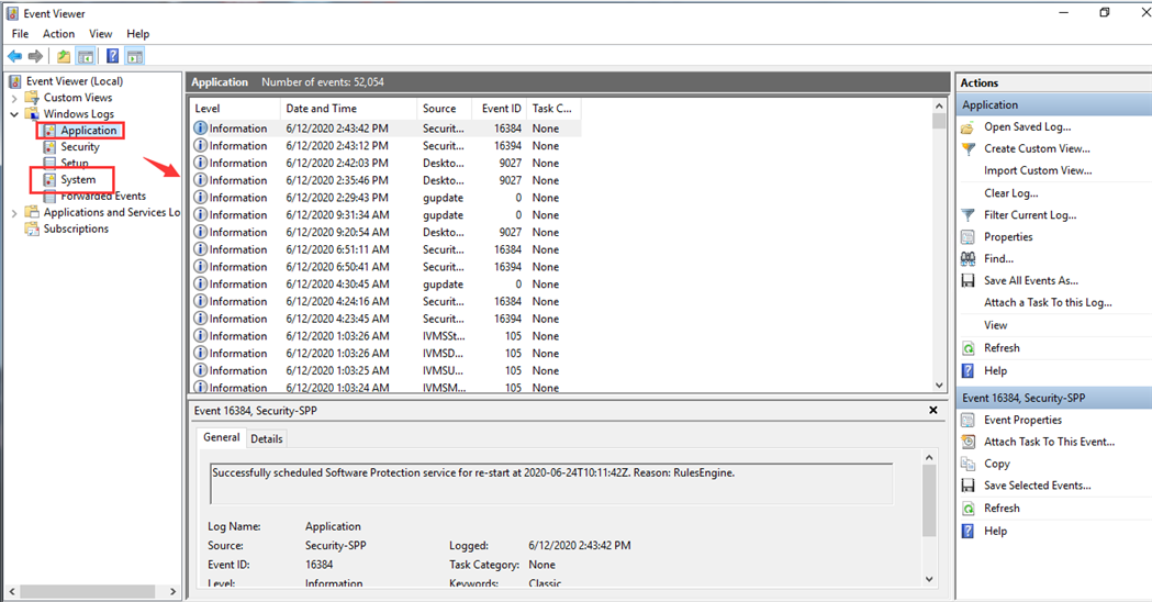 How to use Event Viewer check errors from system or application Picture4